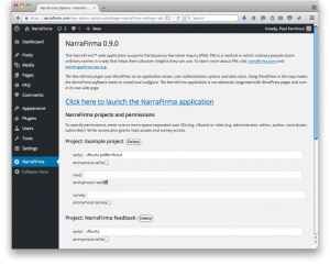 NarraFirma WordPress Admin Panel Screenshot