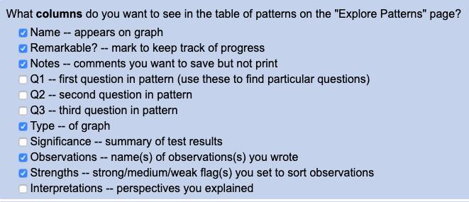 Choosing columns to display in patterns table