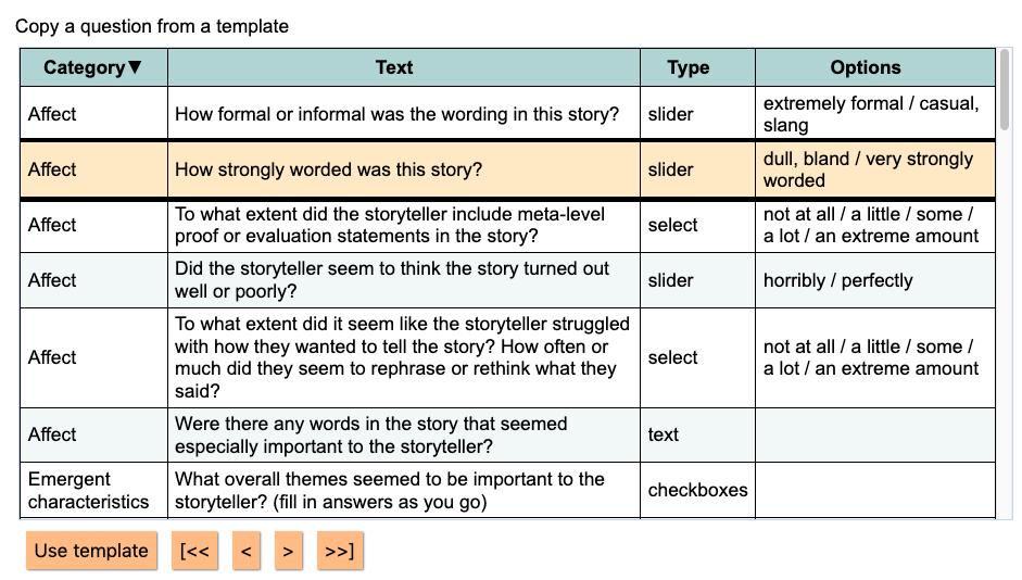 Annotation question templates