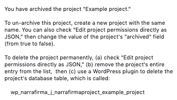 New WordPress archive project message