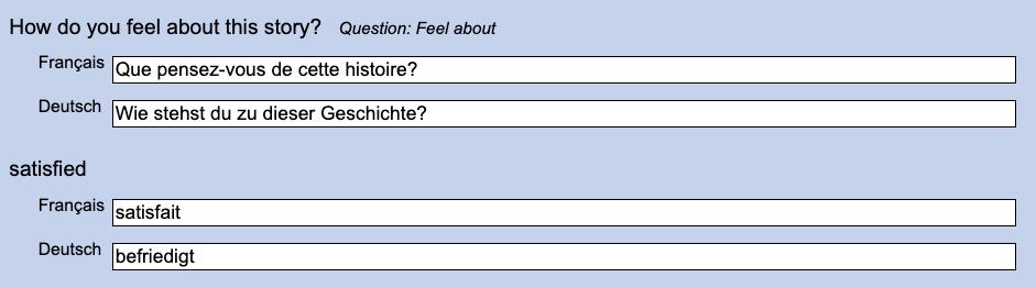 Translating story form texts