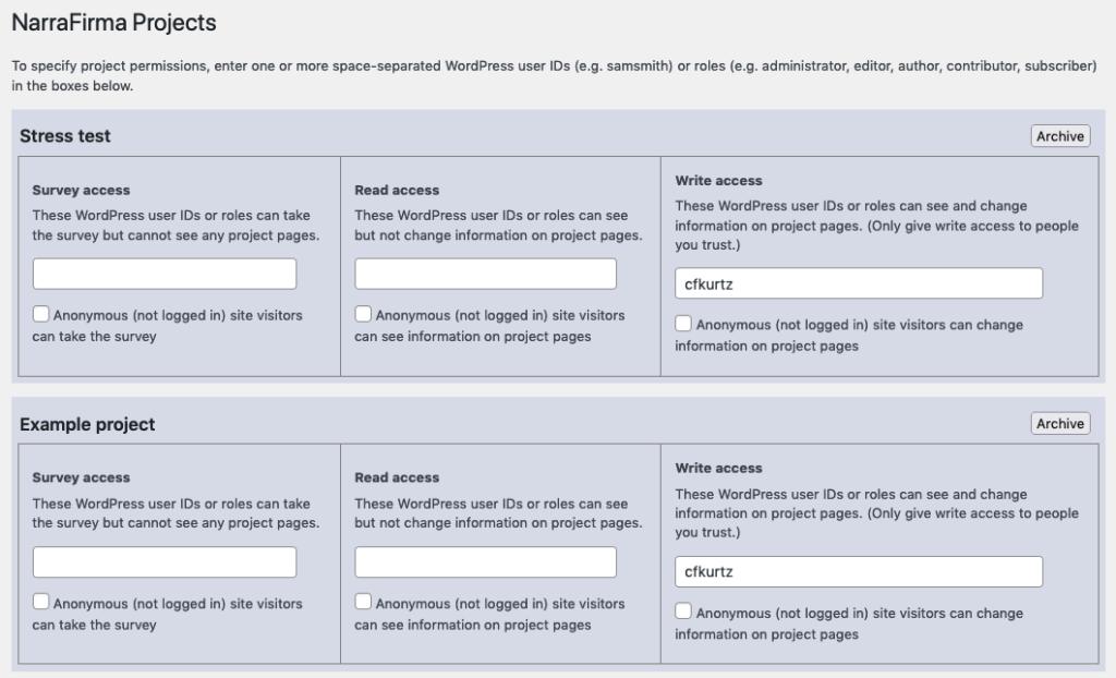 WordPress project options